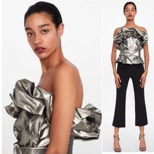 Zara   Metallic Strapless Belted Top NEW Size M